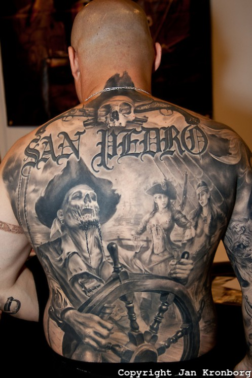 Zombiefied Pirate Tattoos On Back