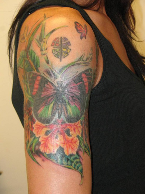 Butterfly Vine Tattoo On Stomach For Girls
