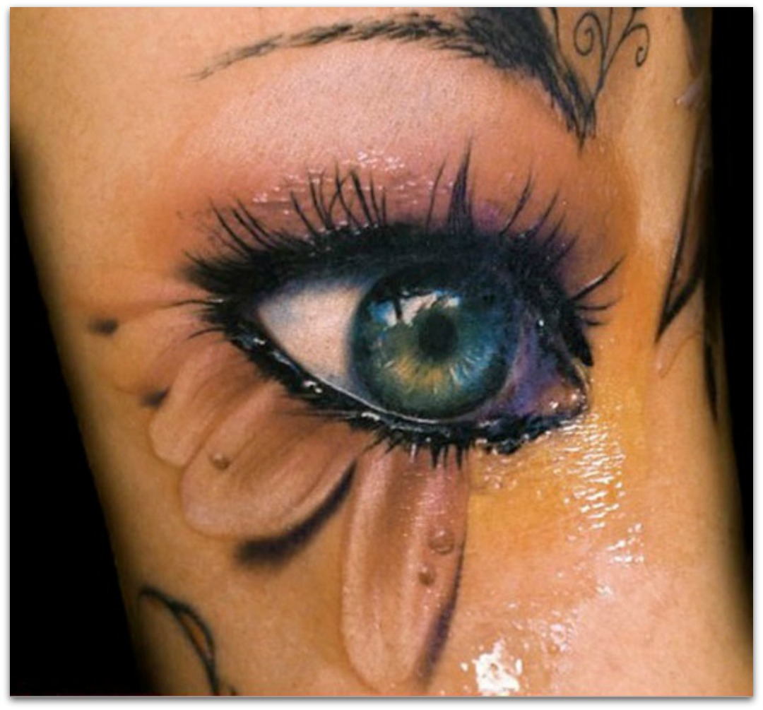 3D Blue Eye Tattoo For Girls And Women photo - 1