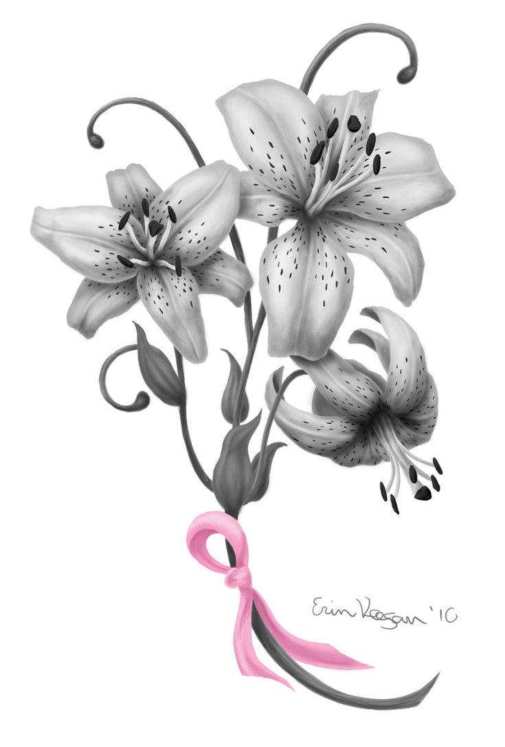 3D Insect Dragonfly n Breast Cancer Ribbon Tattoo Design photo - 1