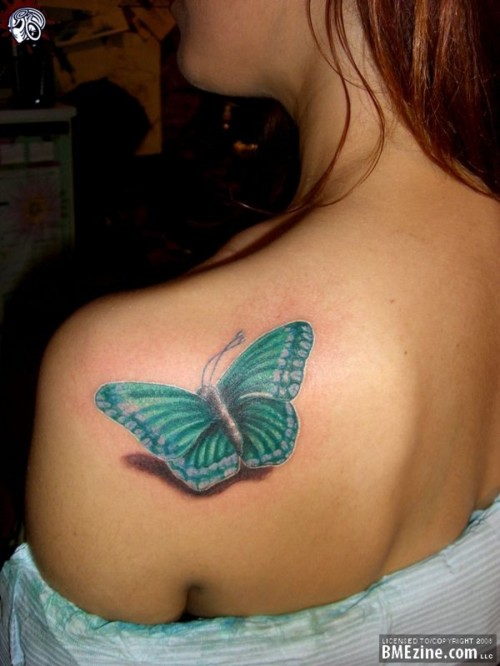 3D Insect Tattoo On Back Shoulder For Girls photo - 1
