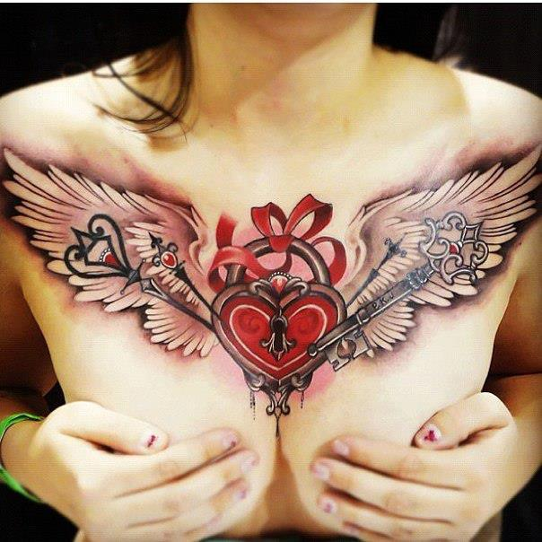 3D Stitched Heart With Wings Tattoo On Back photo - 1