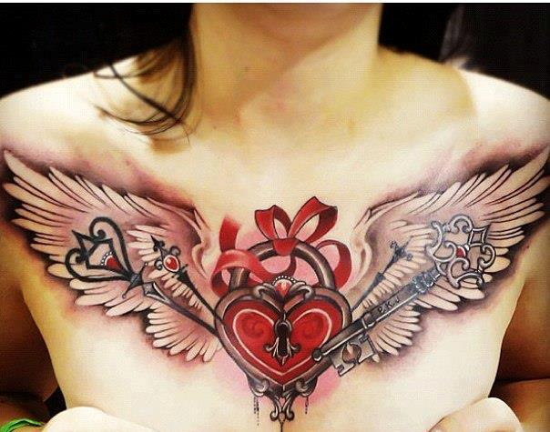 3D Stitched Red Heart Tattoo photo - 1