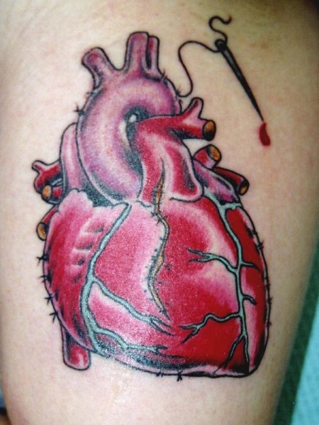 3D Stitched Red Heart Tattoo photo - 3