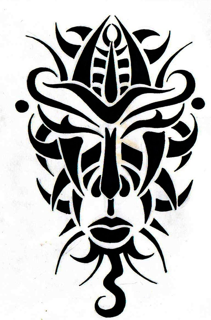 African Tribal Mask Tattoo Design photo - 3