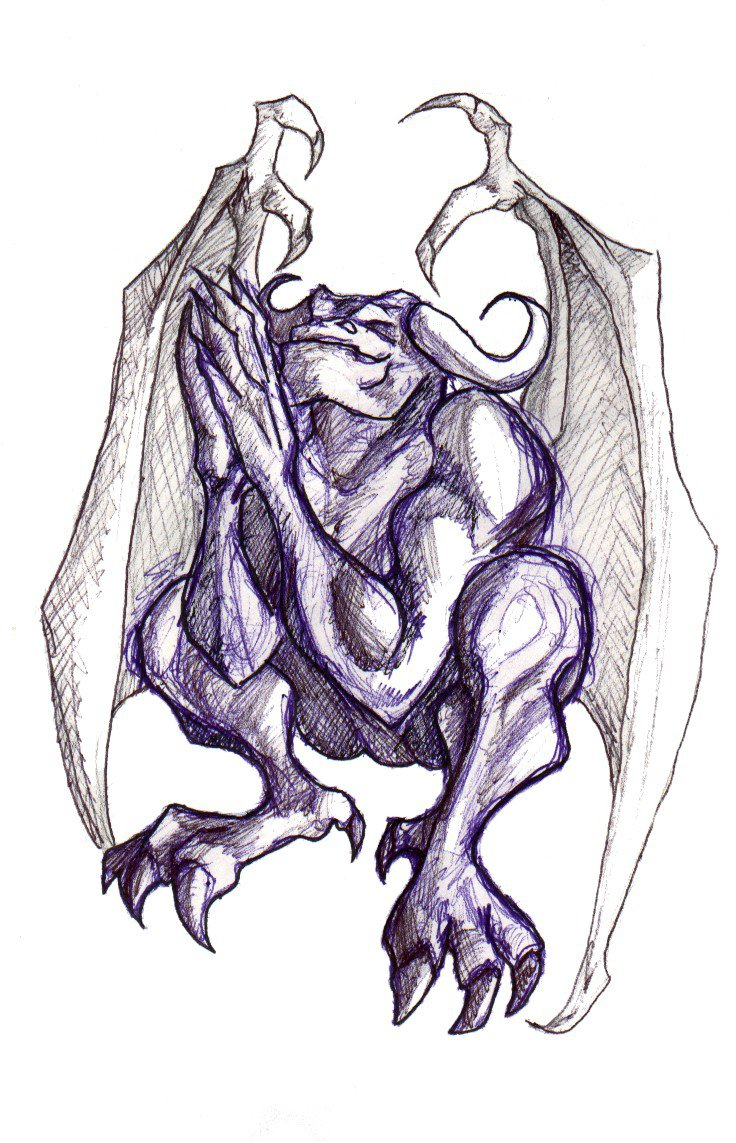 Again Gargoyle Tattoo Sketch photo - 1