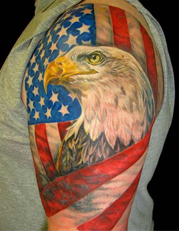 Amazing American Flag Eagle Tattoo On Biceps photo - 1