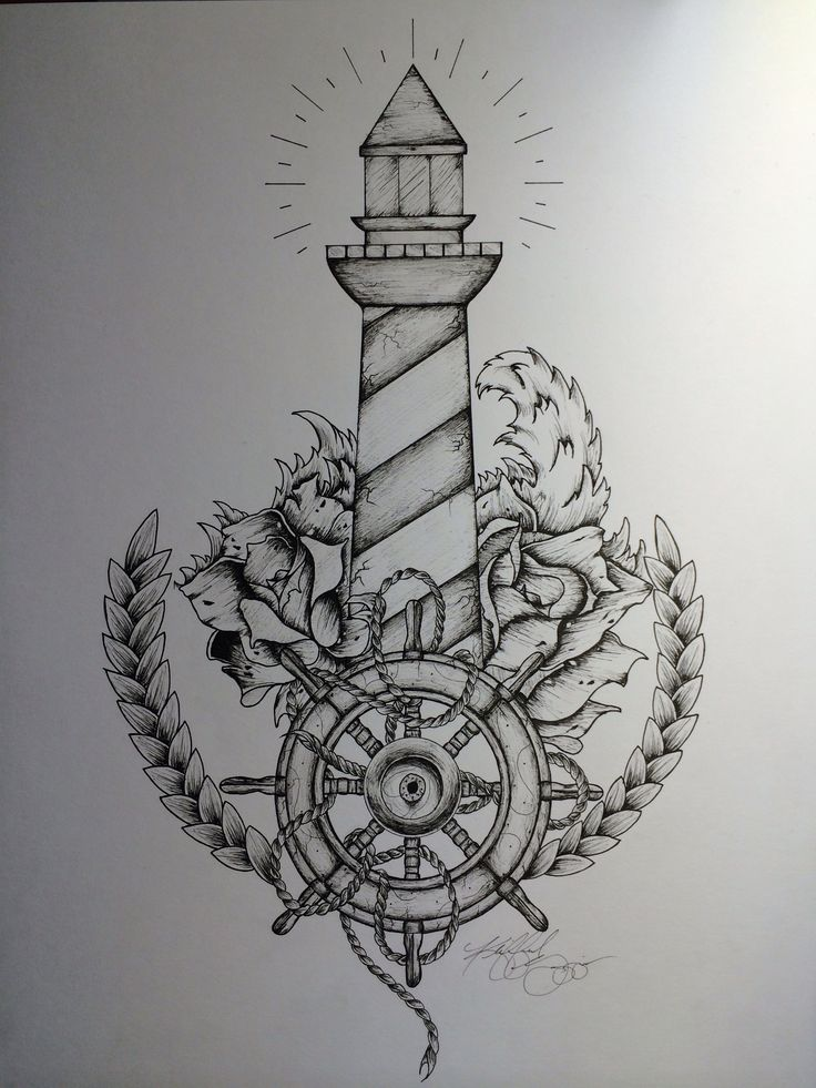 Amazing Lighthouse And Ship Anchor Tattoos photo - 1