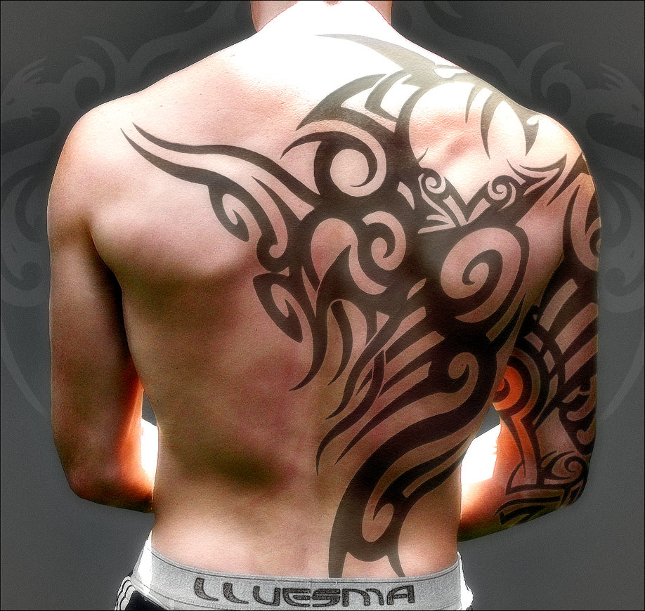 Amazing Tribal Tattoos On Neck And Right Sleeve photo - 2