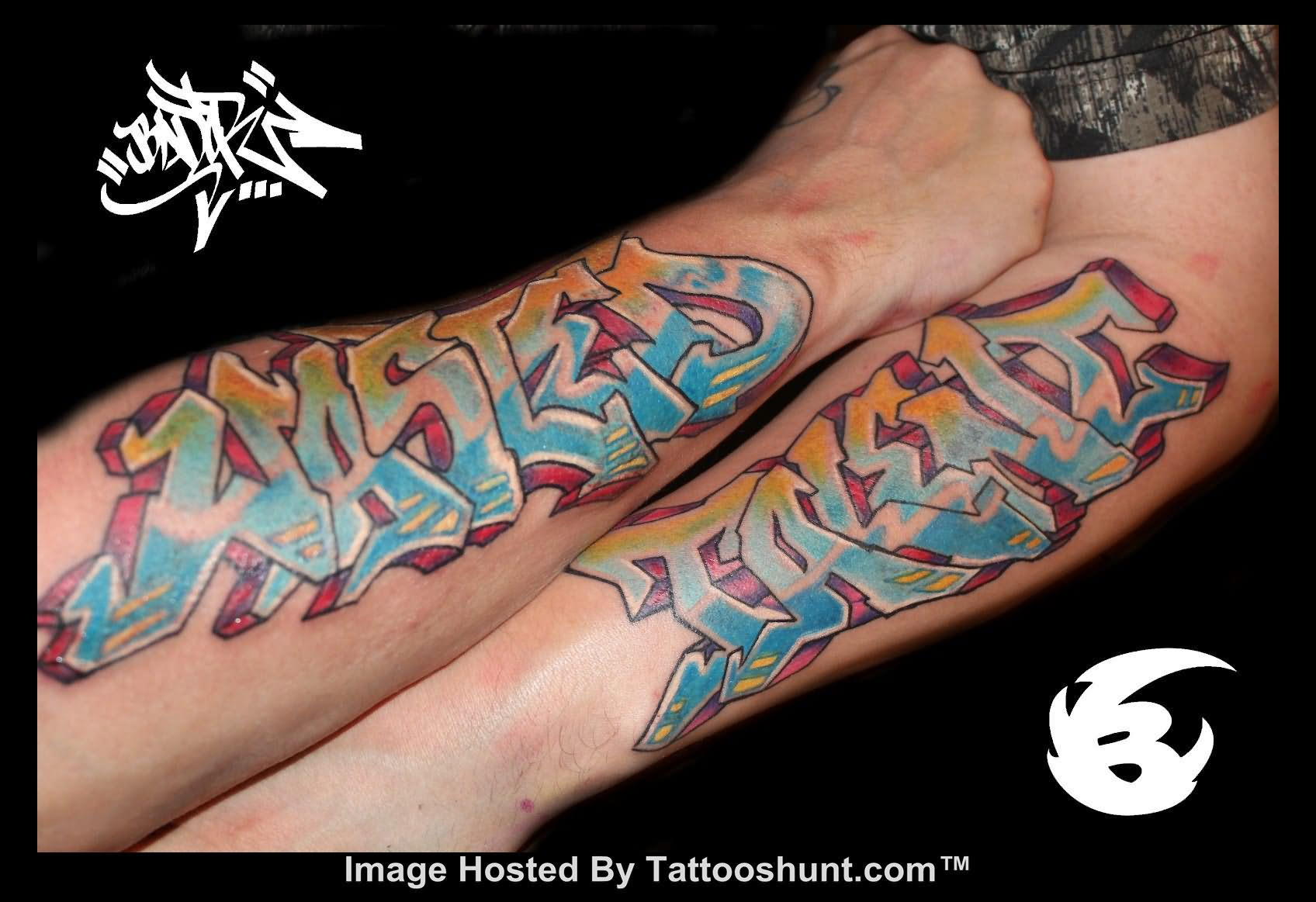 Ambigram Colorful Tattoos On Arms photo - 1