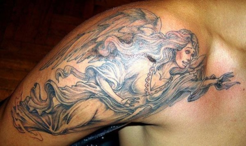 Angel Flying Tattoo On Shoulder photo - 2