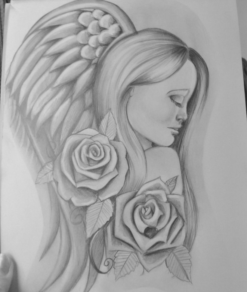 Angel Girl Sitting Tattoo photo - 1