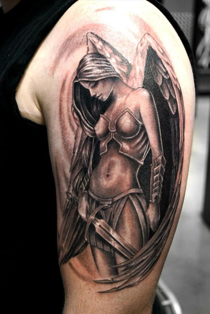Angel Girl Warrior Tattoo On Right Back Shoulder photo - 2