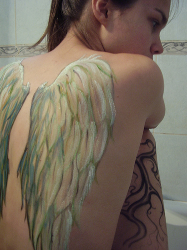 Angel Girl With Spider Wings Tattoo Design photo - 2