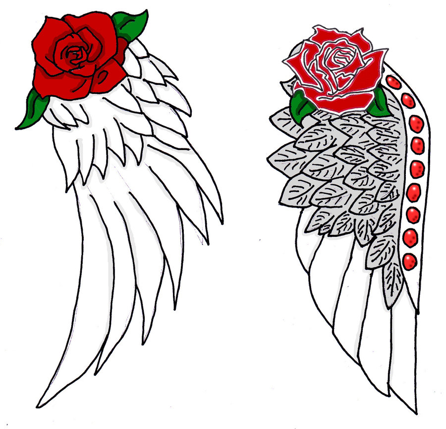 Angel Wings Rose Cross Tattoo photo - 1