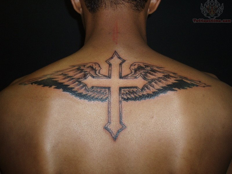Angel Wings Rose Cross Tattoo photo - 2