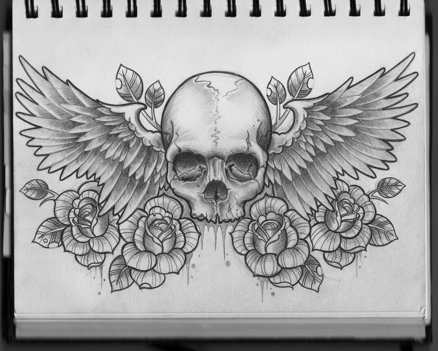 Angel Wings With Guns Tattoo Design photo - 2