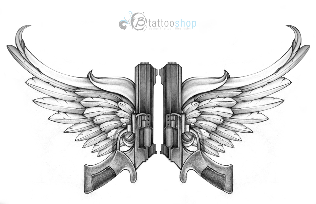 Angel Wings With Guns Tattoo Design photo - 3
