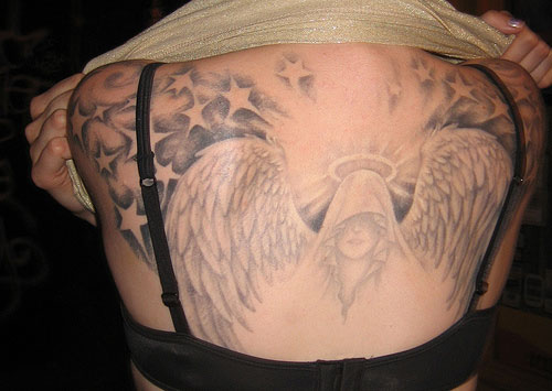 Angel With Stars Tattoo On Back photo - 1