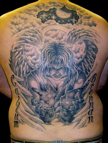 Angel With Stars Tattoo On Back photo - 2