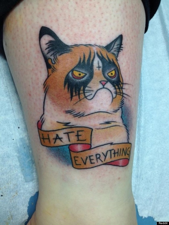 Angry Cat Tattoo on Thigh photo - 1