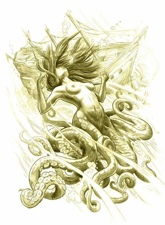 Attractive Mermaid And Octopus Tattoo Design photo - 1