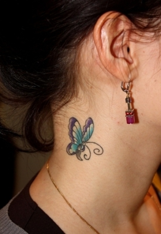 Awesome Butterfly Tattoo on Neck of Girl photo - 2