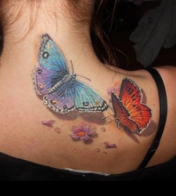 Awesome Colourful Butterfly Tattoo photo - 1