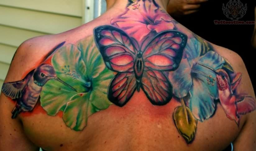 Back Ear Butterfly Insect Tattoo photo - 1