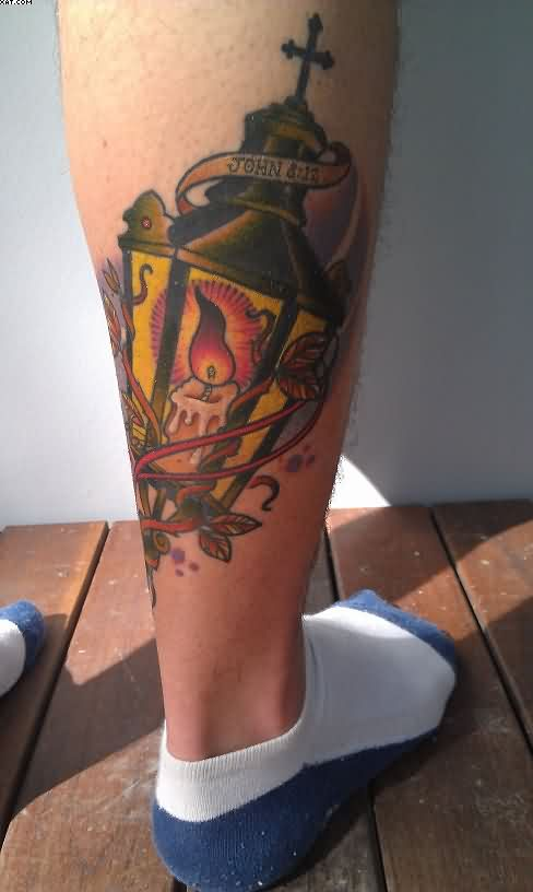 Back Leg Candle Lamp Tattoo photo - 1