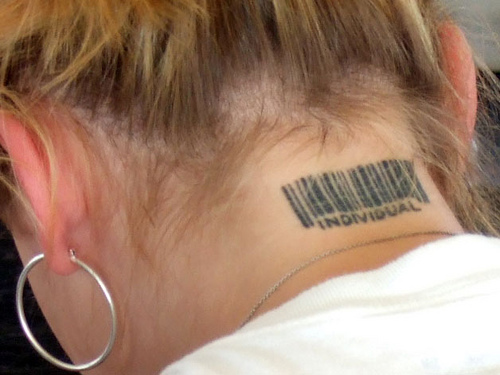 Back Neck Barcode Tattoos For Girls photo - 2