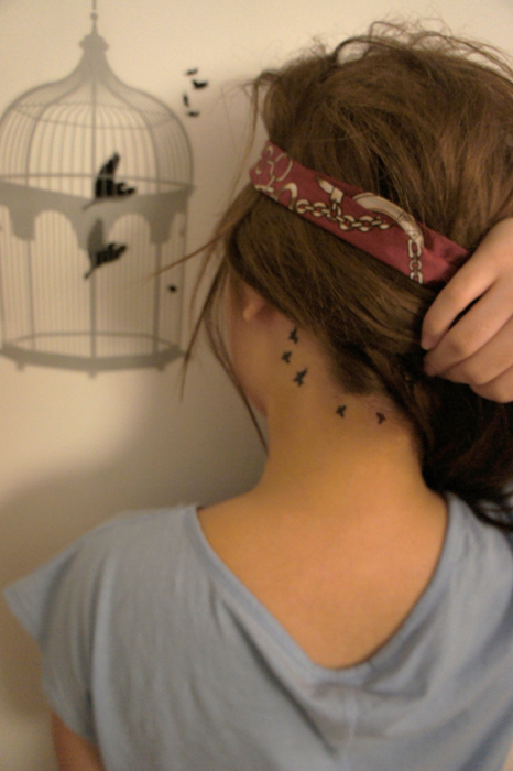 Back Neck Bird Tattoos For Young Girls photo - 2