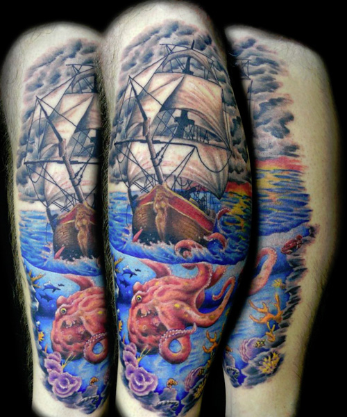 Beautiful Pirate Ship Octopus And Roses Tattoos photo - 1