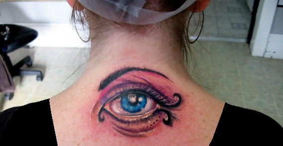 Big Electric Eye Back Neck Tattoo photo - 1