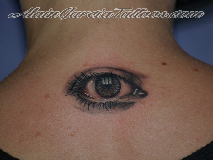 Big Electric Eye Back Neck Tattoo photo - 2