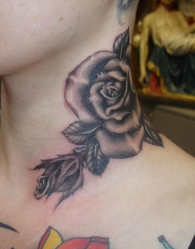 Big Grey Rose Neck Tattoo photo - 1