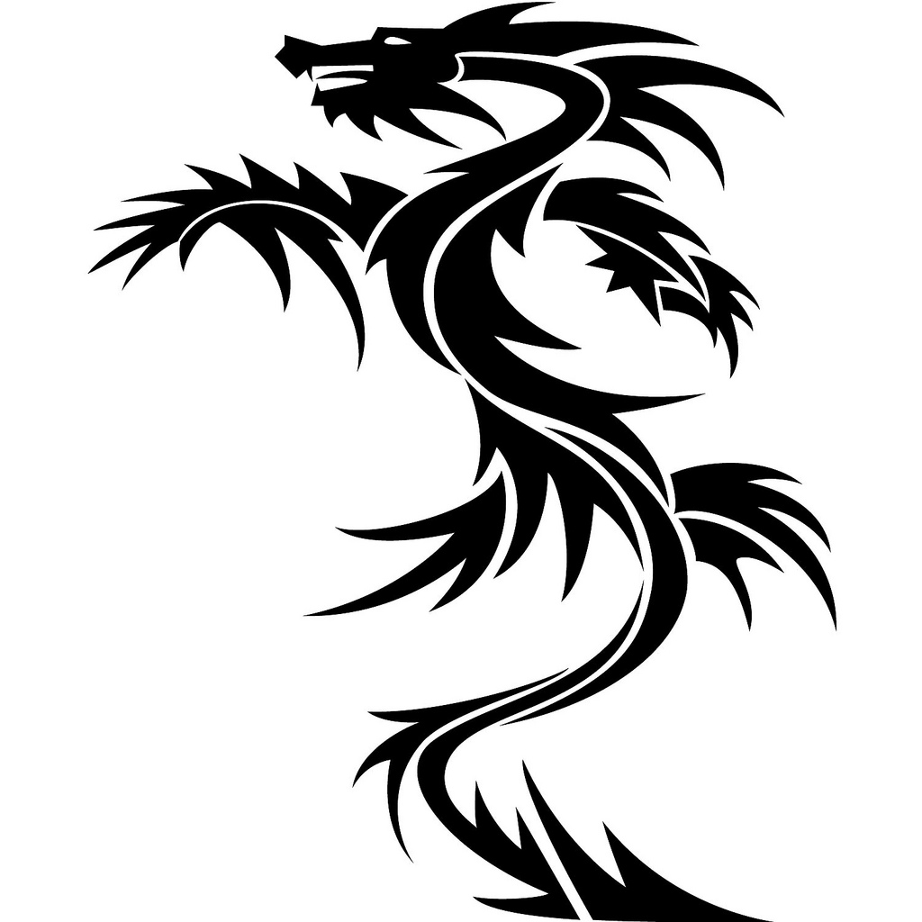 Black Dragon And The Full Moon Tattoo Designs photo - 1