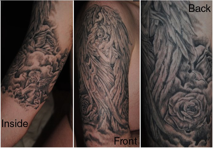 Black Ink Angel Word Tattoo On Arm photo - 3