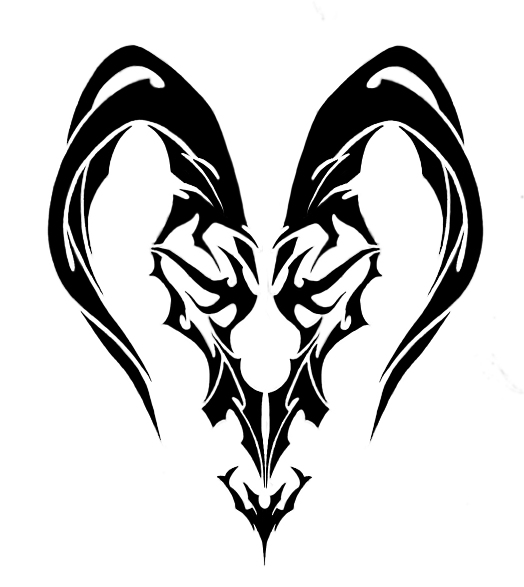 Black Ink Tribal Capricorn Goat Tattoo Design photo - 1