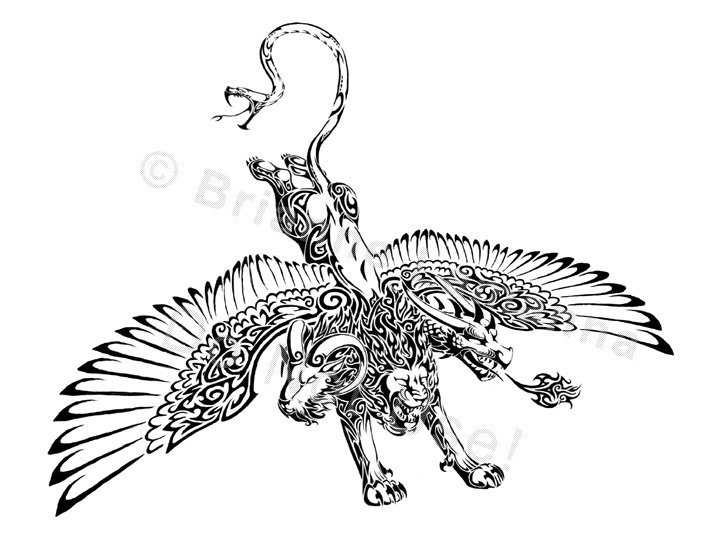 Black Ink Tribal Capricorn Goat Tattoo Design photo - 2