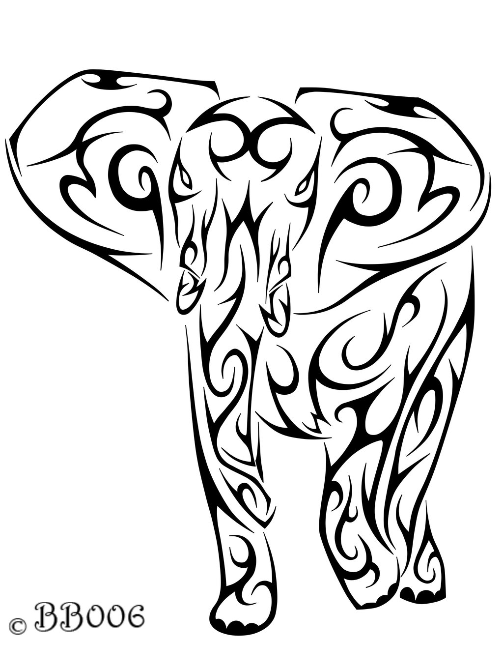 Black Ink Tribal Elephant Head Tattoo Design photo - 3