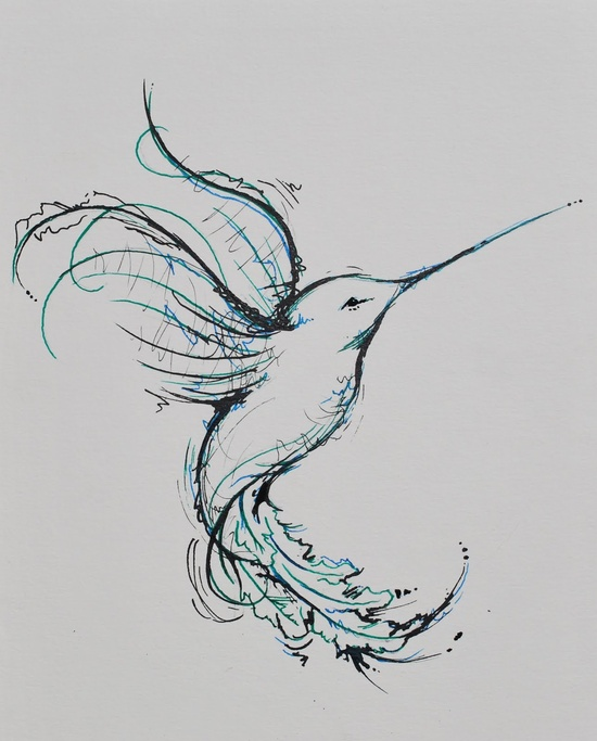 Black Ink Tribal Hummingbird Tattoo Stencil photo - 1