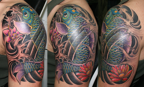 Black Ink Tribal Koi Fish Tattoo photo - 3