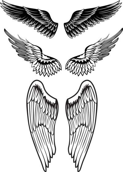 Black Outline Angel Wings Neck Tattoos photo - 1