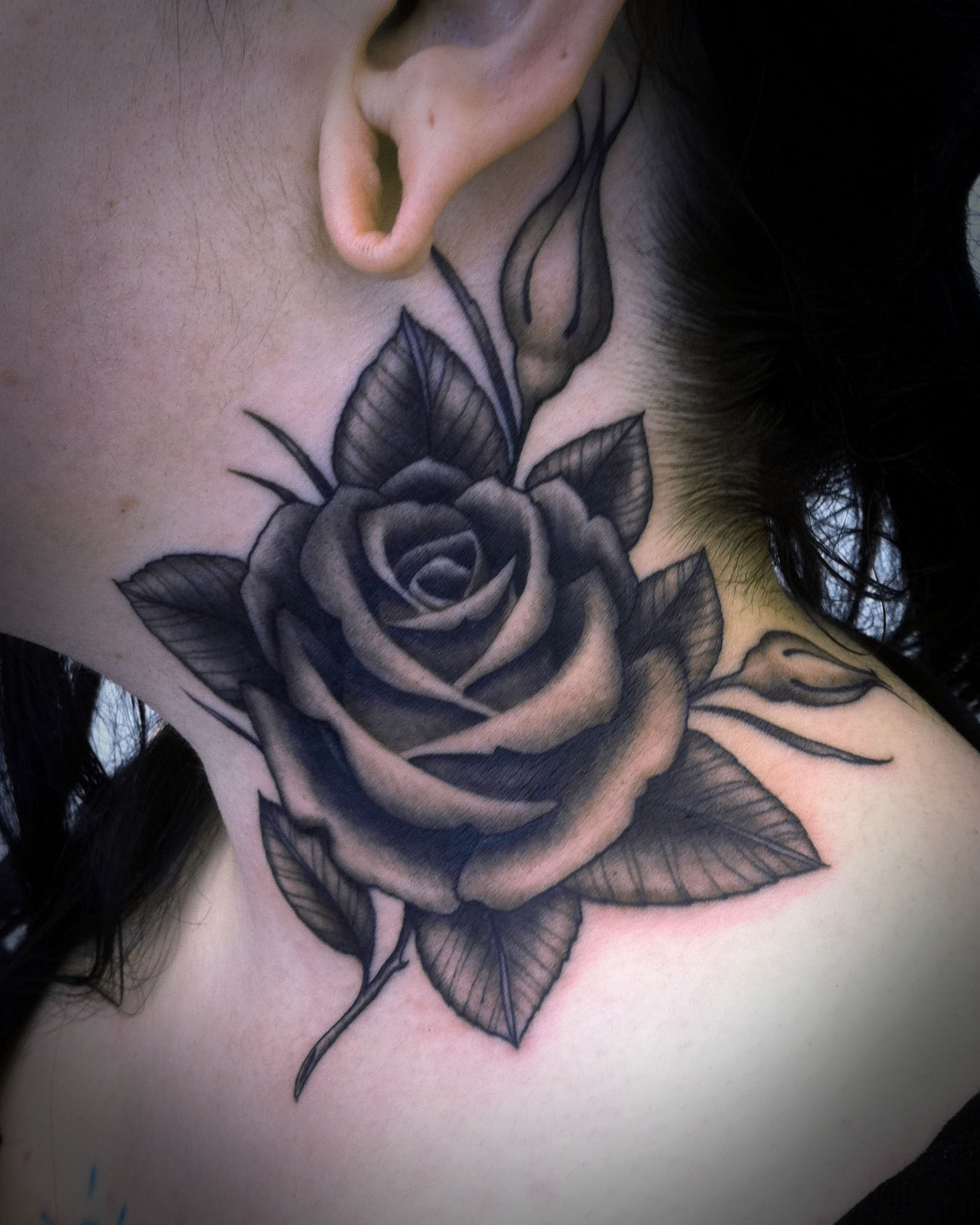 Black Rose Tattoo On Girl Neck photo - 2