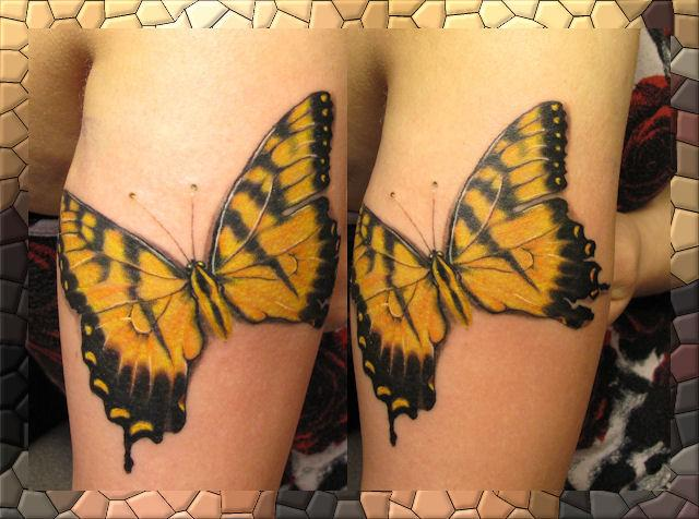 Black and Yellow Butterfly Tattoo photo - 2