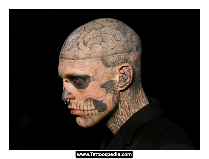 Bloody Zombie Neck Tattoo For Men photo - 2