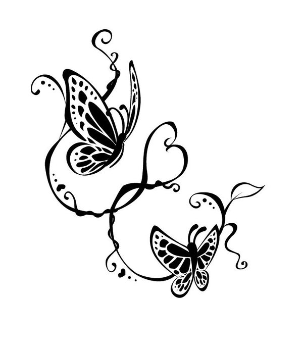 Blue Butterfly Flowers Breast Cancer Tattoo Design photo - 1