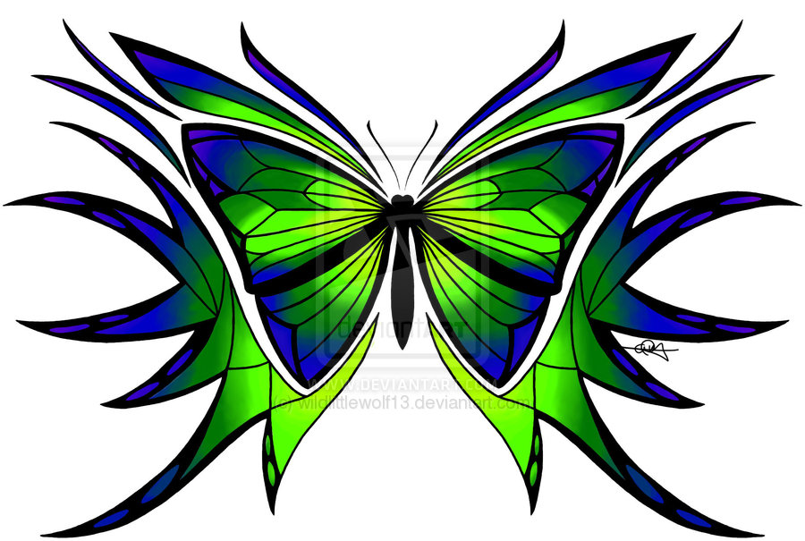 Blue and Green Butterfly Tattoo photo - 1