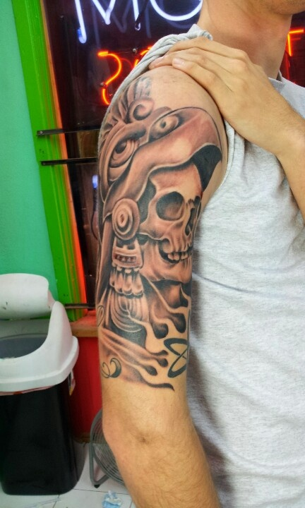 Brilliant Aztec Mask Tattoo Design photo - 2